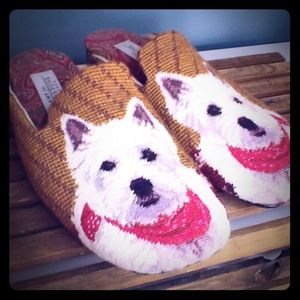 Amy Joe gladstone scottie needlepoint slipon shoes